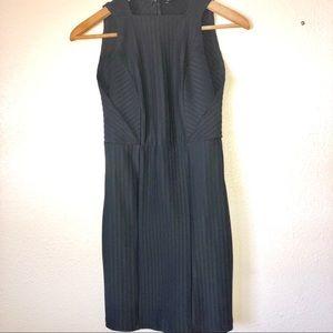 ZARA || black textured ribbed bodycon midi dress